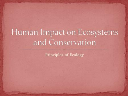Principles of Ecology. Describe the causes and effects of biological magnification Outline the strategies used by conservation biologists to conserve.