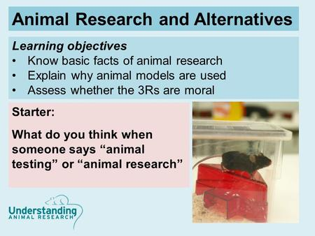 Learning objectives Know basic facts of animal research Explain why animal models are used Assess whether the 3Rs are moral Starter: What do you think.