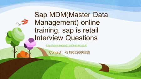 Sap MDM(Master Data Management) online training, sap is retail Interview Questions Contact : +919052666559