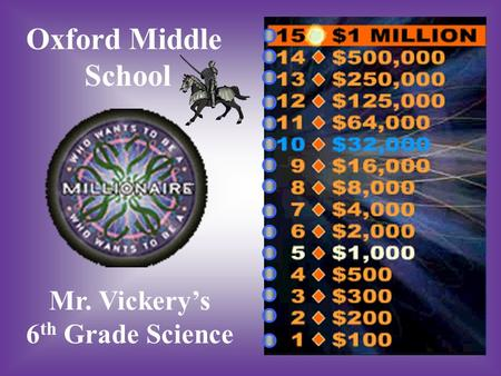 Oxford Middle School Mr. Vickery's 6 th Grade Science.