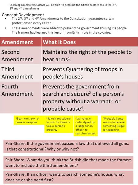 Concept Development The 2 nd, 3 rd and 4 th Amendments to the Constitution guarantee certain protections to every citizen. These amendments were added.