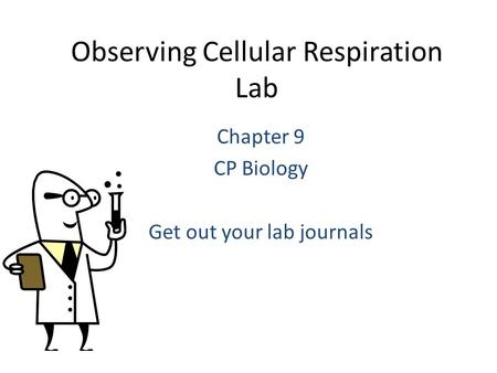 Observing Cellular Respiration Lab Chapter 9 CP Biology Get out your lab journals.