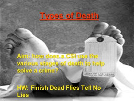 Types of Death Aim: how does a CSI use the various stages of death to help solve a crime? HW: Finish Dead Flies Tell No Lies.
