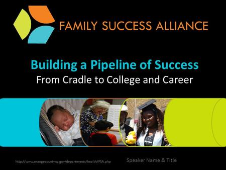 Building a Pipeline of Success From Cradle to College and Career  Speaker Name & Title.