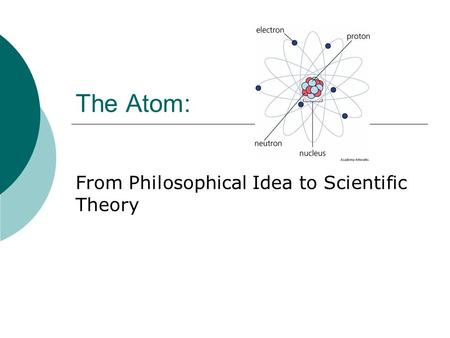 From Philosophical Idea to Scientific Theory