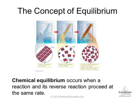 Equilibrium The Concept of Equilibrium Chemical equilibrium occurs when a reaction and its reverse reaction proceed at the same rate. © 2012 Pearson Education,