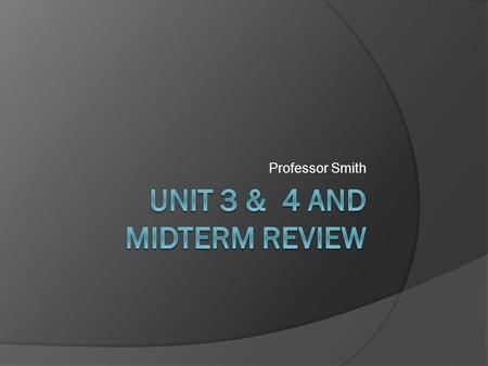 Professor Smith. Unit 3  Make sure you review the power point  Read chapters  Complete your project in time Case study Other Unit 3 assignments  Read.