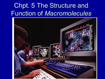 The Structure and Function of Macromolecules Chpt. 5 The Structure and Function of Macromolecules.