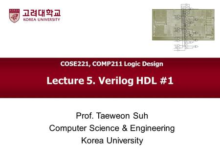 Lecture 5. Verilog HDL #1 Prof. Taeweon Suh Computer Science & Engineering Korea University COSE221, COMP211 Logic Design.