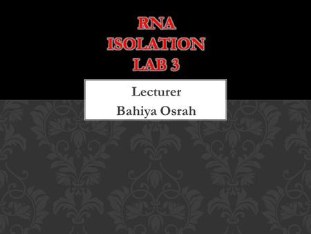 Lecturer Bahiya Osrah.  RNA exist as a single strand.  Ribose Sugar (5 carbon sugar)  Phosphate group  Adenine, Uracil, Cytosine, Guanine  For RNA,