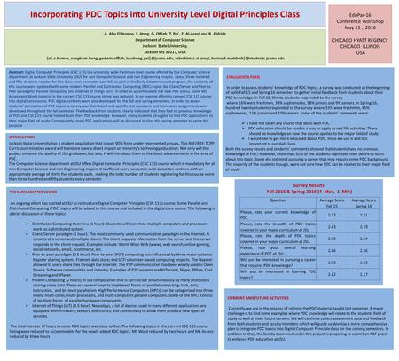 Incorporating PDC Topics into University Level Digital Principles Class Abstract: Digital Computer Principles (CSC 115) is a university wide freshman level.