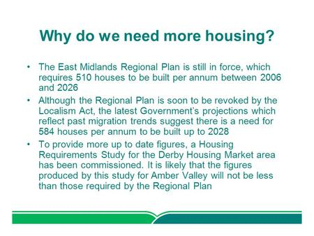 Why do we need more housing? The East Midlands Regional Plan is still in force, which requires 510 houses to be built per annum between 2006 and 2026 Although.