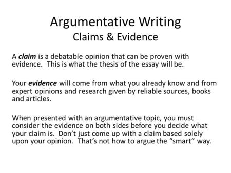 writing a debatable claims