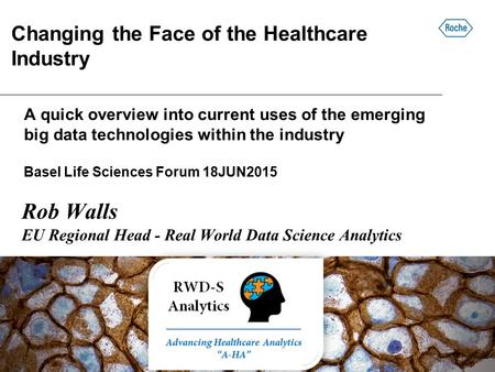 A quick overview into current uses of the emerging big data technologies within the industry Basel Life Sciences Forum 18JUN2015 Rob Walls EU Regional.