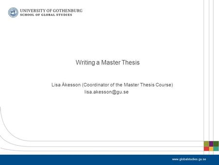 Lisa Åkesson (Coordinator of the Master Thesis Course) Writing a Master Thesis.