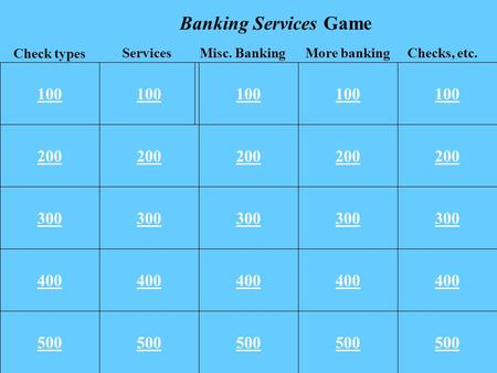 100 200 300 400 500 100 200 300 400 500 100 More bankingChecks, etc. Check types ServicesMisc. Banking Banking Services Game.