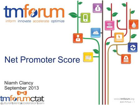 © 2013 TM Forum | 1 V2013.3 Net Promoter Score Niamh Clancy September 2013.