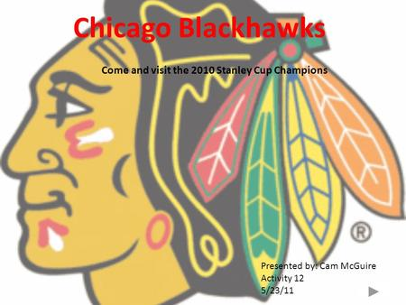 Chicago Blackhawks Come and visit the 2010 Stanley Cup Champions Presented by: Cam McGuire Activity 12 5/23/11.