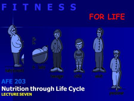 FITNESS FOR LIFE AFE 203 Nutrition Nutrition through Life Cycle LECTURE SEVEN.