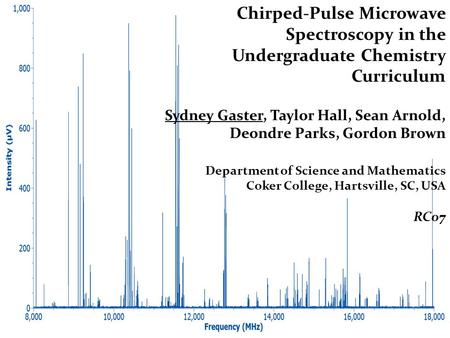 Chirped-Pulse Microwave Spectroscopy in the Undergraduate Chemistry Curriculum Sydney Gaster, Taylor Hall, Sean Arnold, Deondre Parks, Gordon Brown Department.