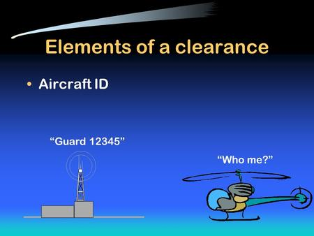 "Elements of a clearance Aircraft ID ""Guard 12345"" ""Who me?"""