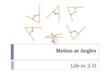 Motion at Angles Life in 2-D Review of 1-D Motion  There are three equations of motion for constant acceleration, each of which requires a different.