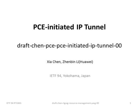 Draft-chen-rtgwg-resource-management-yang-00IETF 94 RTGWG1 PCE-initiated IP Tunnel draft-chen-pce-pce-initiated-ip-tunnel-00 Xia Chen, Zhenbin Li(Huawei)