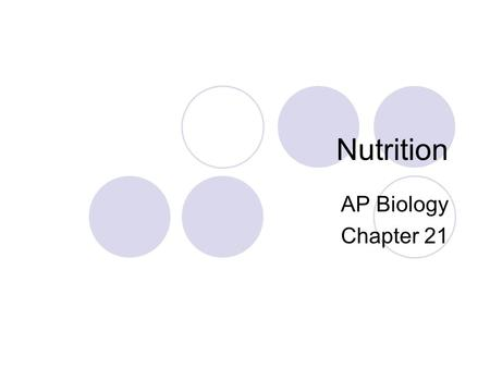 Nutrition AP Biology Chapter 21. 21.14: Overview: A healthy diet satisfies three needs All animals must obtain:  Fuel to power body activites  Organic.