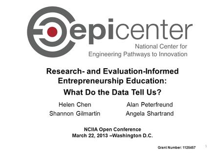 Research- and Evaluation-Informed Entrepreneurship Education: What Do the Data Tell Us? NCIIA Open Conference March 22, 2013 –Washington D.C. Grant Number: