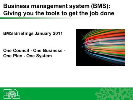 Business management system (BMS): Giving you the tools to get the job done BMS Briefings January 2011 One Council - One Business - One Plan - One System.
