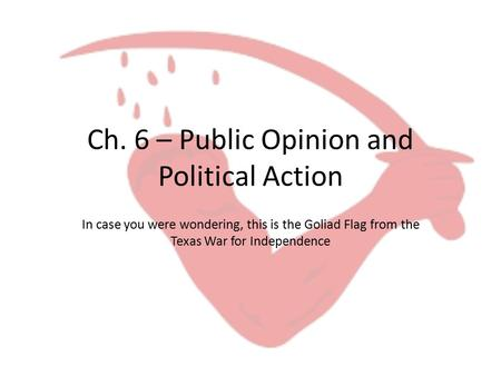 Ch. 6 – Public Opinion and Political Action In case you were wondering, this is the Goliad Flag from the Texas War for Independence.