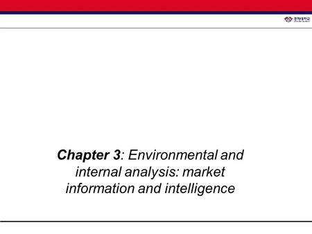 Chapter 3: Environmental and internal analysis: market information and intelligence.