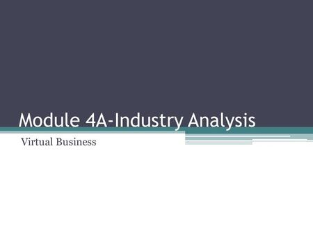 Module 4A-Industry Analysis Virtual Business. What is Industry Analysis? Industry analysis is a market strategy tool used by businesses to determine if.