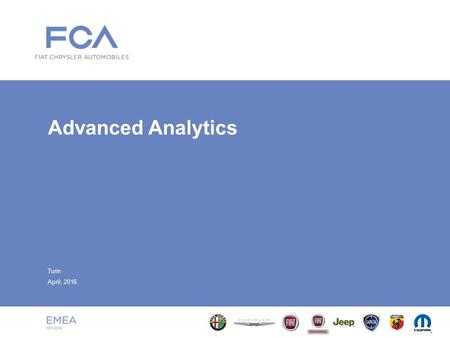 Advanced Analytics Turin April, 2016. Index 2 ■ Advanced Analytics Approach –Architecture Overview –Methodology –Professional Skills ■ Impacted Areas.