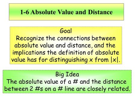 1-6 Absolute Value and Distance Goal Recognize the connections between absolute value and distance, and the implications the definition of absolute value.
