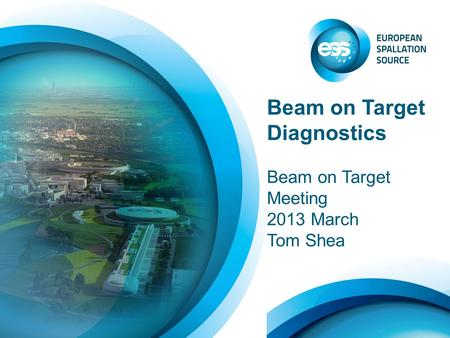 Beam on Target Diagnostics Beam on Target Meeting 2013 March Tom Shea.