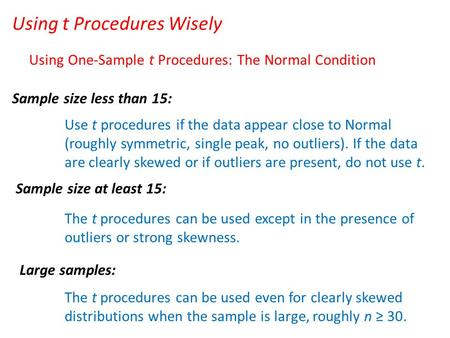 Using t Procedures Wisely Using One-Sample t Procedures: The Normal Condition Sample size less than 15: Sample size at least 15: Large samples: Use t procedures.