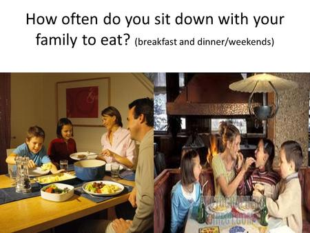 How often do you sit down with your family to eat? (breakfast and dinner/weekends)