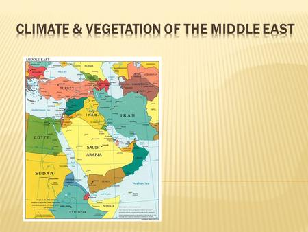  The Middle East is extremely arid… meaning that it receives little or no rain and stays mostly dry during the year.  Large portion of the land is covered.