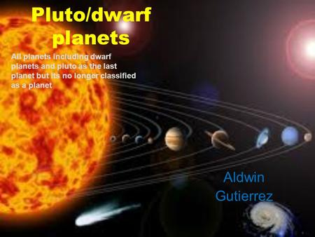 Pluto/dwarf planets Aldwin Gutierrez All planets including dwarf planets and pluto as the last planet but its no longer classified as a planet.