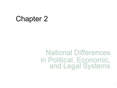 Chapter 2 National Differences in Political, Economic, and Legal Systems 1.