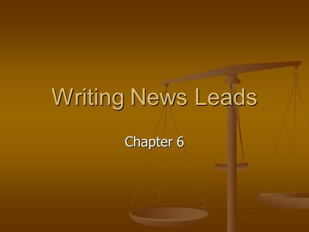 Writing News Leads Chapter 6. The Inverted Pyramid Main facts first (lead) Main facts first (lead) Most important to least important details Most important.