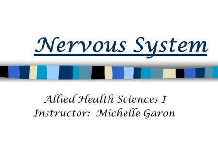 Nervous System Allied Health Sciences I Instructor: Michelle Garon.