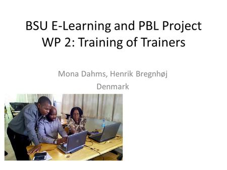 BSU E-Learning and PBL Project WP 2: Training of Trainers Mona Dahms, Henrik Bregnhøj Denmark.