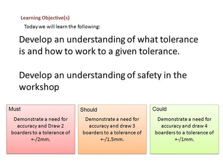 Develop an understanding of what tolerance is and how to work to a given tolerance. Develop an understanding of safety in the workshop Learning Objective(s)