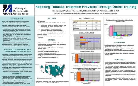 Reaching Tobacco Treatment Providers Through Online Training INTRODUCTION  U.S. Public Health Service Guidelines recommend that health care professionals.