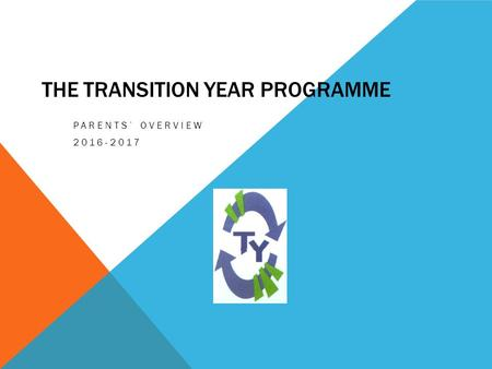 THE TRANSITION YEAR PROGRAMME PARENTS' OVERVIEW 2016-2017.