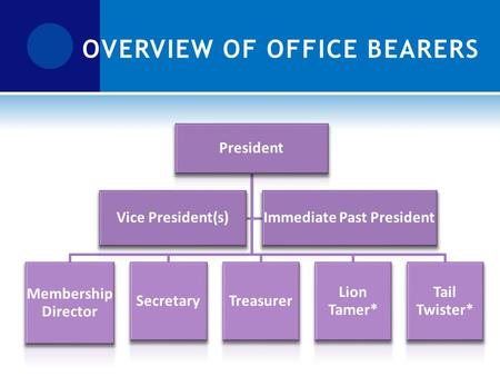 President Membership Director SecretaryTreasurer Lion Tamer* Tail Twister* Vice President(s)Immediate Past President OVERVIEW OF OFFICE BEARERS.