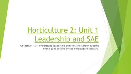 Horticulture 2: Unit 1 Leadership and SAE Objective 1.01: Understand leadership qualities and career building techniques desired by the horticulture industry.