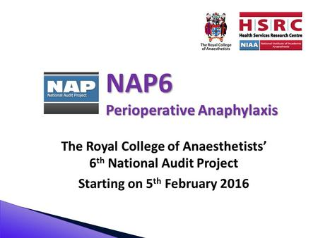 NAP6 Perioperative Anaphylaxis The Royal College of Anaesthetists' 6 th National Audit Project Starting on 5 th February 2016.
